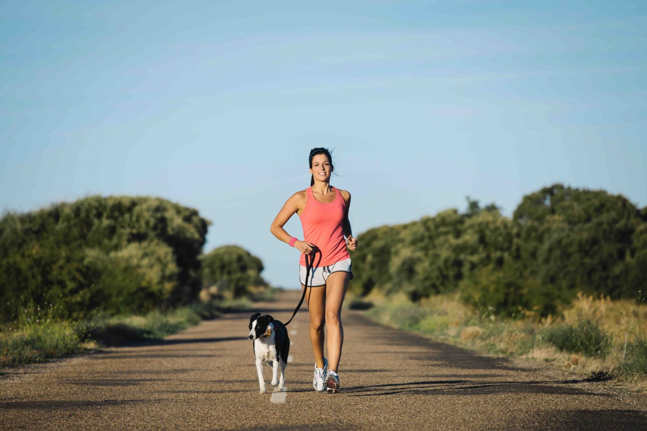 One Life Fitness Personal Training Kelowna Running with Dog